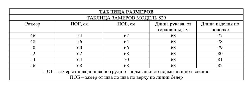 Таблица размеров - Парка коттон демисезонная