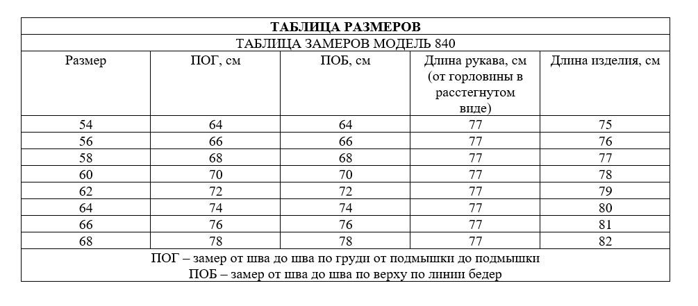Таблица размеров - Пончо нарцисс демисезонное