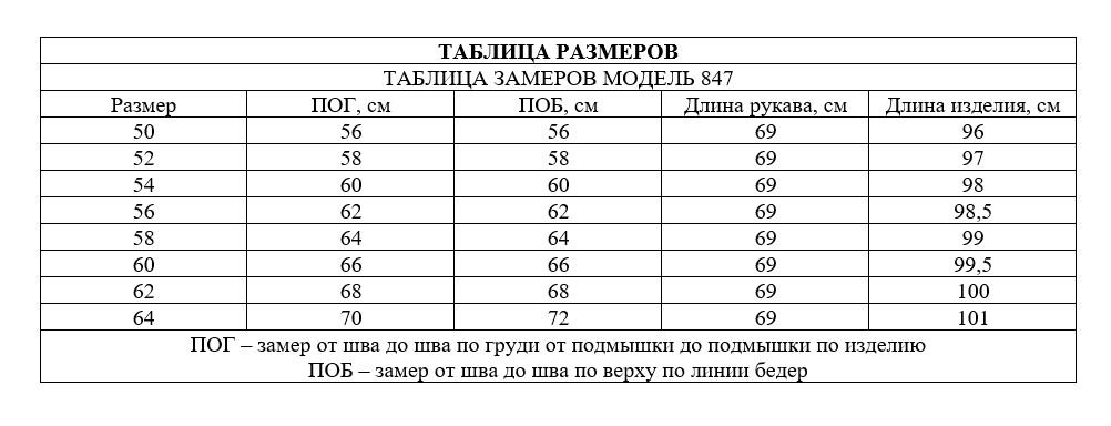 Таблица размеров - Пальто стеганное весеннее